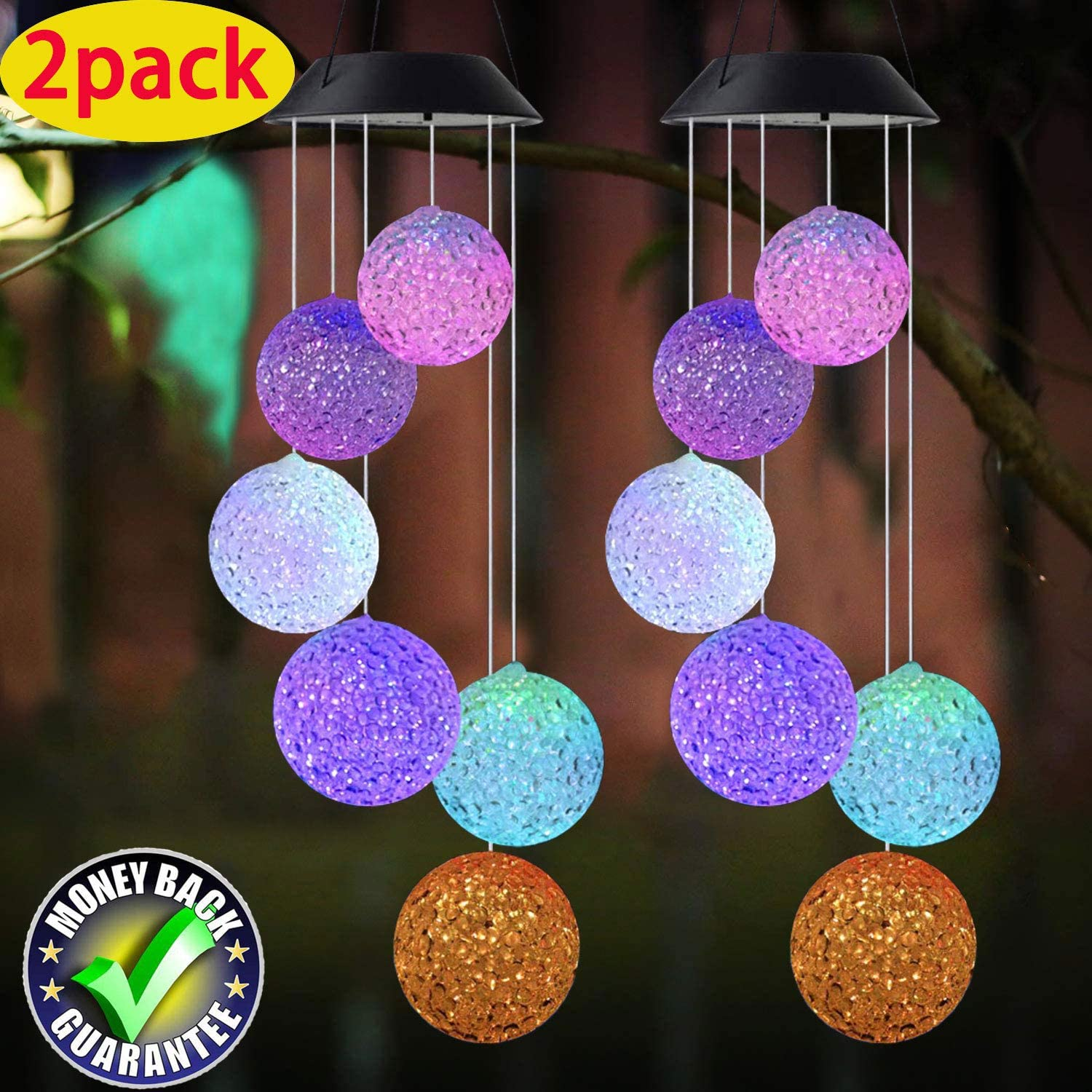 Wind chimes Color Changing Solar Power Wind Chime Crystal Ball Wind chimes Mobile Portable Waterproof Outdoor Decorative Romantic Wind Bell Light for Patio Yard Garden Home (2 pack Crystal Ball) : Garden & Outdoor