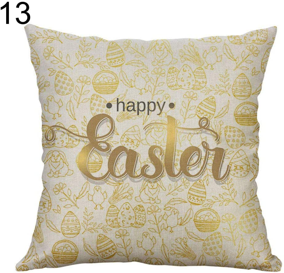 Easter Eggs Rabbit Square Cushion Case Decorative Sofa Seat Soft Pillows Cover