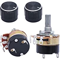 TWTADE 2Pcs 10K Ohm Single Linear Taper Dimmer Potentiometer with on/Off Switch + 2pcs Black Aluminum Alloy knob
