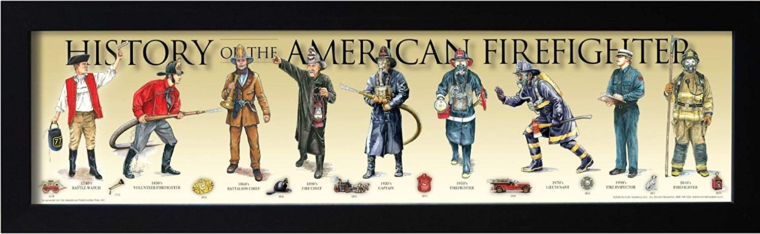 History of the American Firefighter Framed Posters & Prints | Historical Fire Fighter Wall Art Gifts & Bedroom Decor | Poster & Print for Enthusiast & Vintage Artwork Collectors | Gift for Guys Room