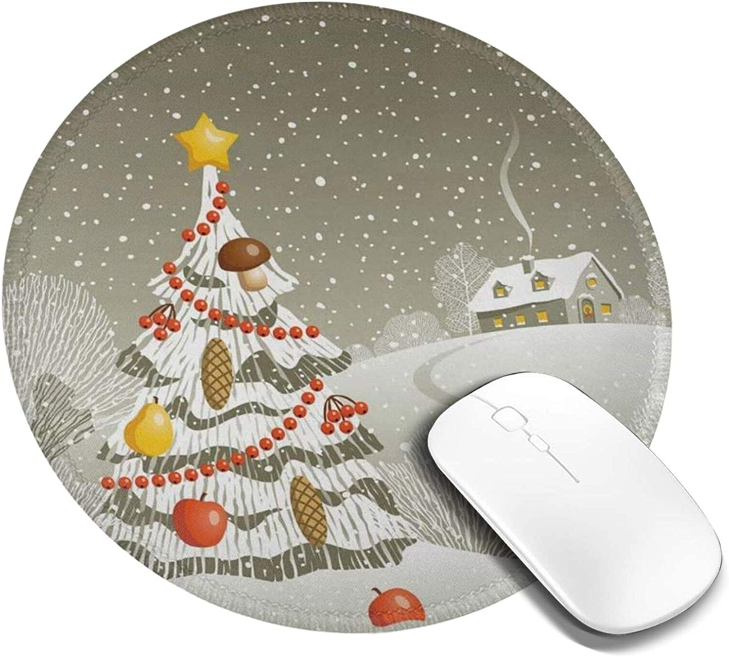 Mini Mouse Pad Round Merry Christmas Eve Winter Grey Computer Mouse Pads Laptop Mousepad Circle Small Cute Personalized Gaming Mouse Mat for Women Kids Girls Boys Men Non Slip 7.9 X 7.9