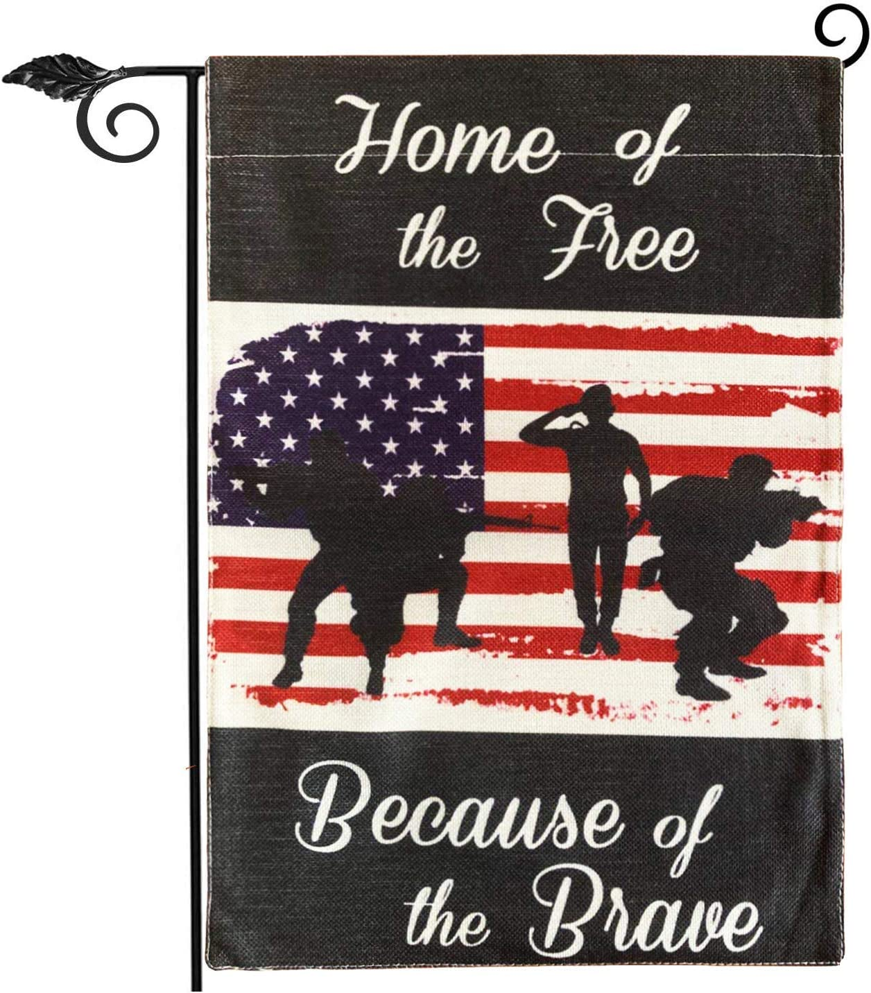 Gz party Patriotic Soldier Garden Flag,4th of July Memorial Day Independence Day Burlap Garden Yard Outdoor Decoration,Home of The Free,Because of The Brave(Garden Size-12.5x18)