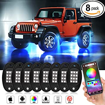 8PC RGB LED Multi-Color Offroad Rock Lights Wireless Remotes Truck Jeep SUV