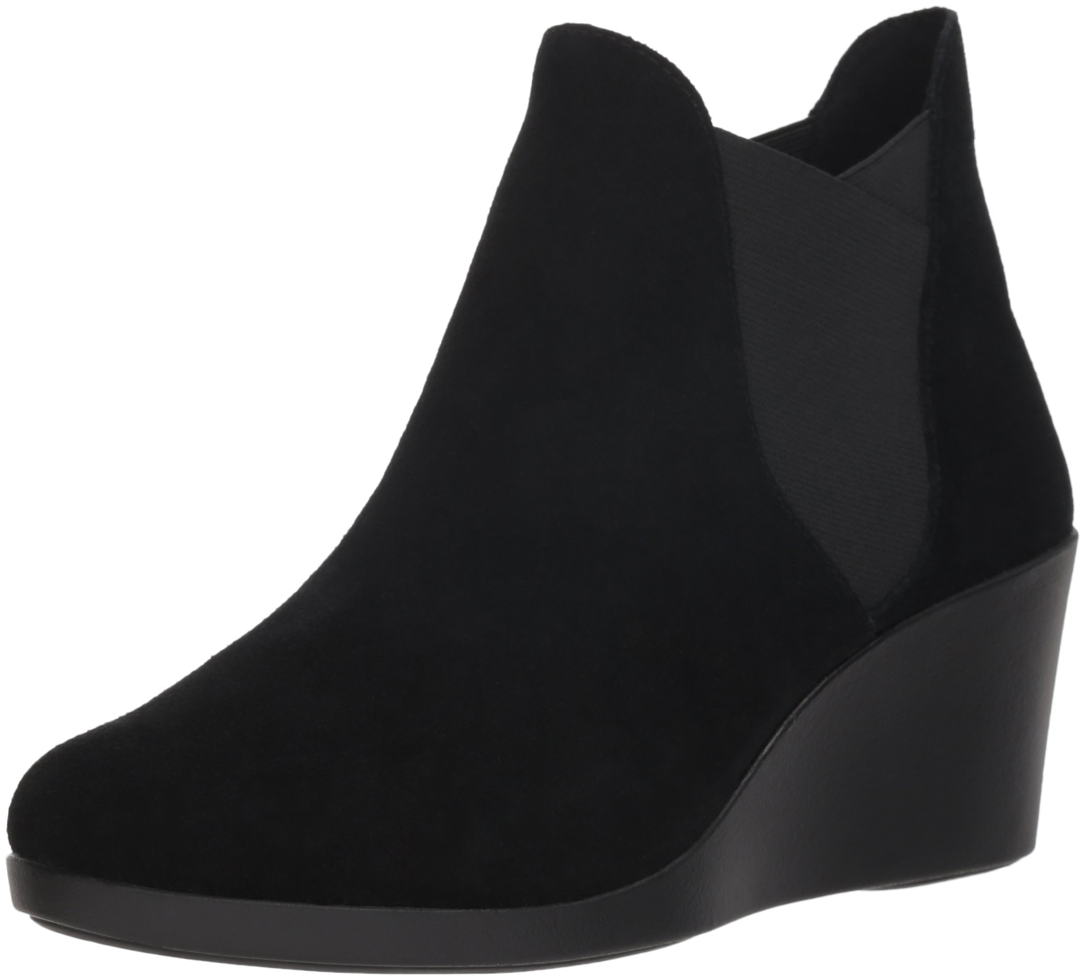 Crocs Women's Leigh Wedge Chelsea W Rain Boot, Black, W8.5 M US