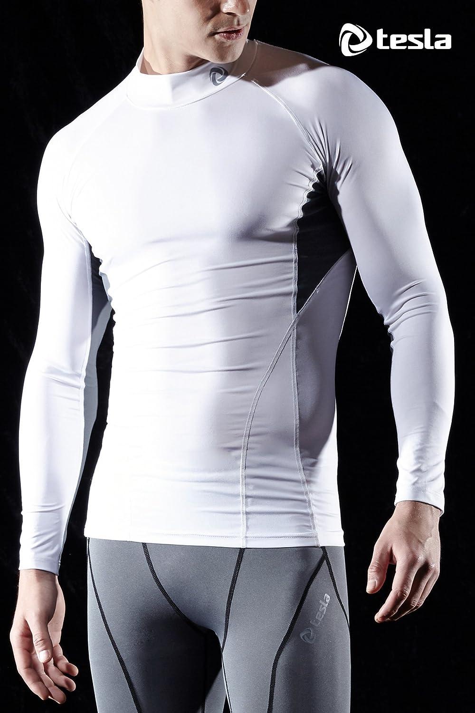 TSLA Mens Mock Long-Sleeved T-Shirt Cool Dry Compression Baselayer MUT72//MUT02//T02//T12
