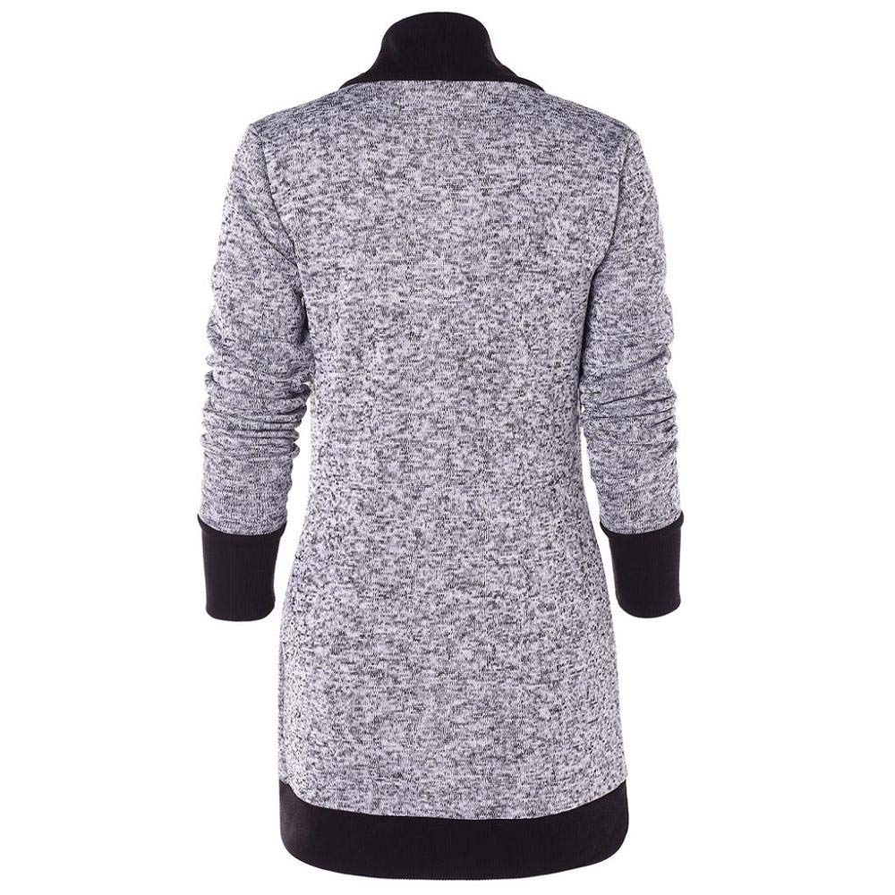 STORTO Fashion Women Open Front Cardigan Casual Long Sleeve Lightweight Two Tone Patchwork Outwear