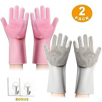 Amazon.com: 2 pares de guantes de silicona mágicos con ...