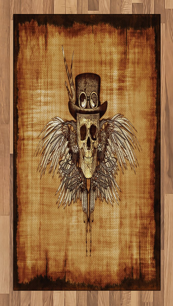 Lunarable Skull Area Rug, Cool Skull Icon on Parchement Background Retro Style Dead on Eagle Wings Gothic, Flat Woven Accent Rug for Living Room Bedroom Dining Room, 2.6 x 5 FT, Brown Orange