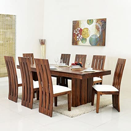 Mamta Decoration Sheesham Wood Dining Table Set For Living Room With 8 Chair Teak Finish
