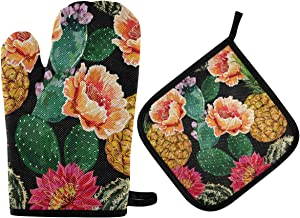 DOMIKING Pot Holders Oven Mitts Sets - Floral Summer Tropical Oven Gloves Heat Resistant Hot Pads Non-Slip Potholders for Kitchen Grilling BBQ Cooking
