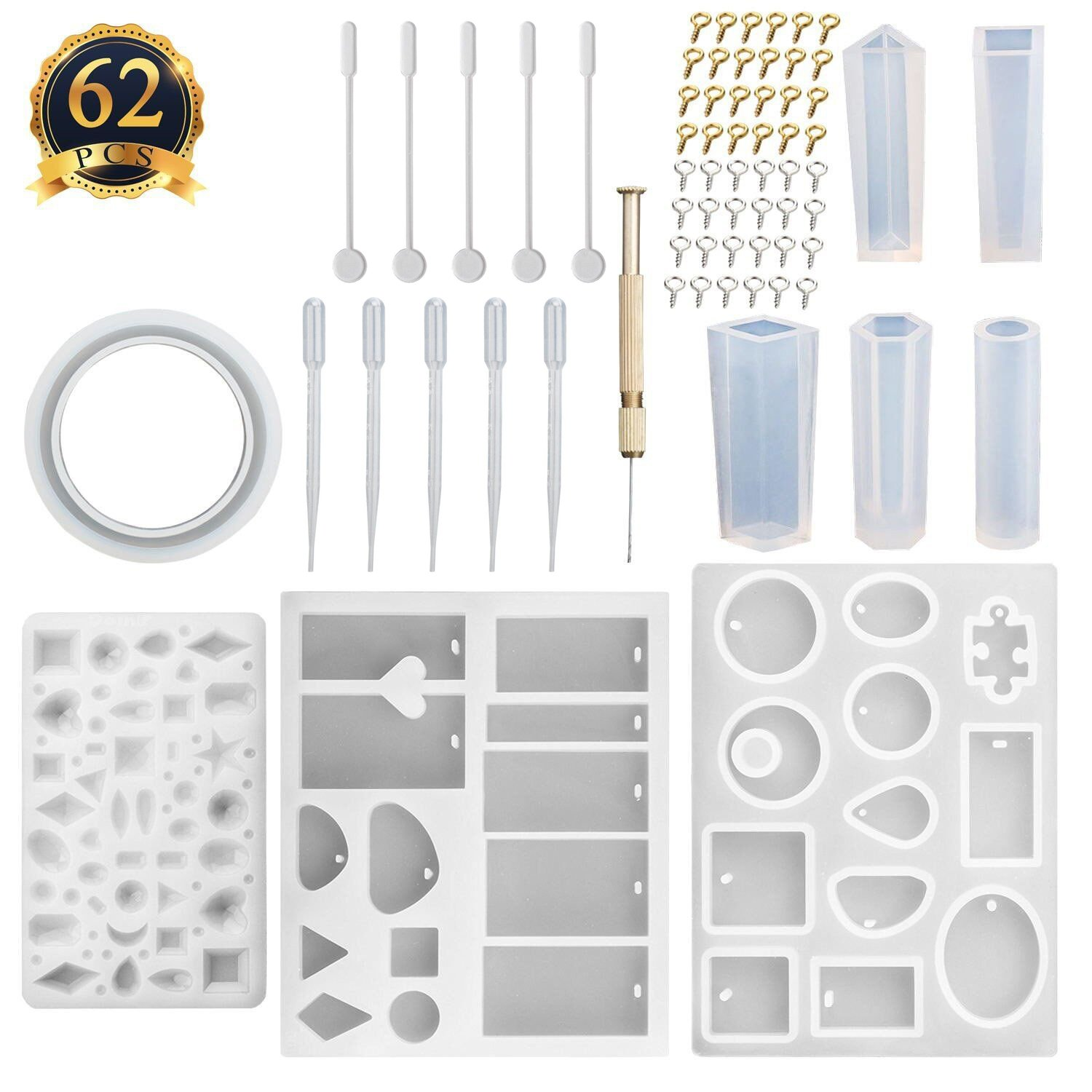 SUBANG 9 Pack Jewelry Casting Molds Silicone Resin Jewelry Molds with 48 Screw Eye Pins, 2 Plastic Stirrers, 1 Hand Twist Drill and 2 Plastic Droppers 4336825392