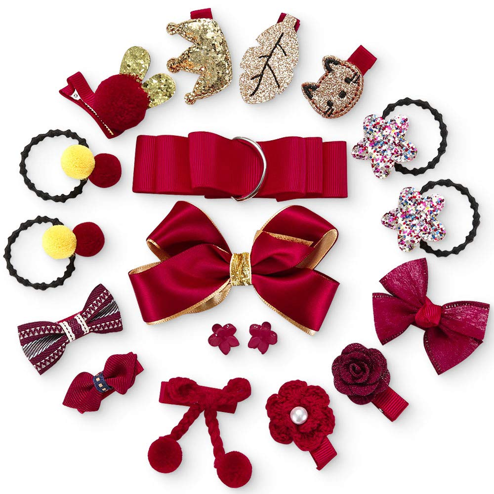 Baby Girl Hair Accessories Set - 18PCS Party Hair Clips Ties Bows Comfortable Hair Alligator Clips Barrettes Hair Ties Bands Ropes Grosgrain Ribbon Bow Set Various Designs for Little Girls Infants