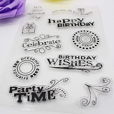 Text Words Transparent Silicone Clear Rubber Stamp Sheet Cling Scrapbooking HI
