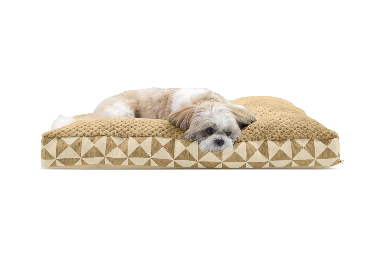 Pyramid Latte MediumFurhaven Pet Dog Bed   Congreenible Sherpa Panel Outdoor Pillow Pet Bed for Dogs & Cats, Espresso, Large