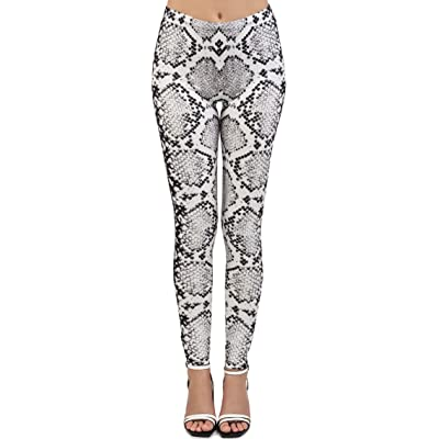 Ayliss Women Snakeskin Leggings High Waist Yoga Skinny Pants Elastic Tights (#1) at Amazon Women's Clothing store