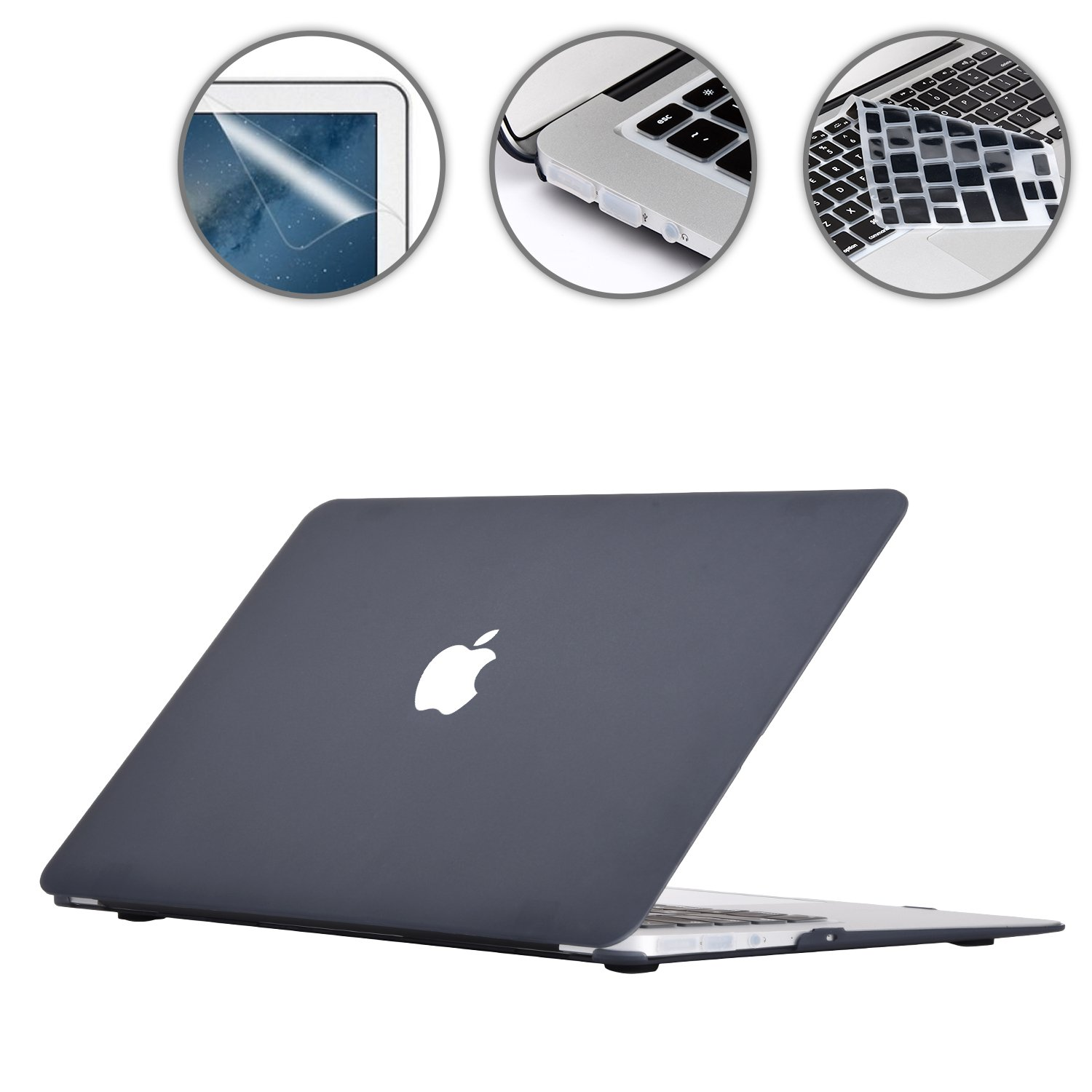 Applefuns(TM) 4 in 1 Kit Matte Hard Shell Case + Keyboard Cover + Screen Protector + Dust Plug for Macbook Air 13'' A1369 A1466 (black)