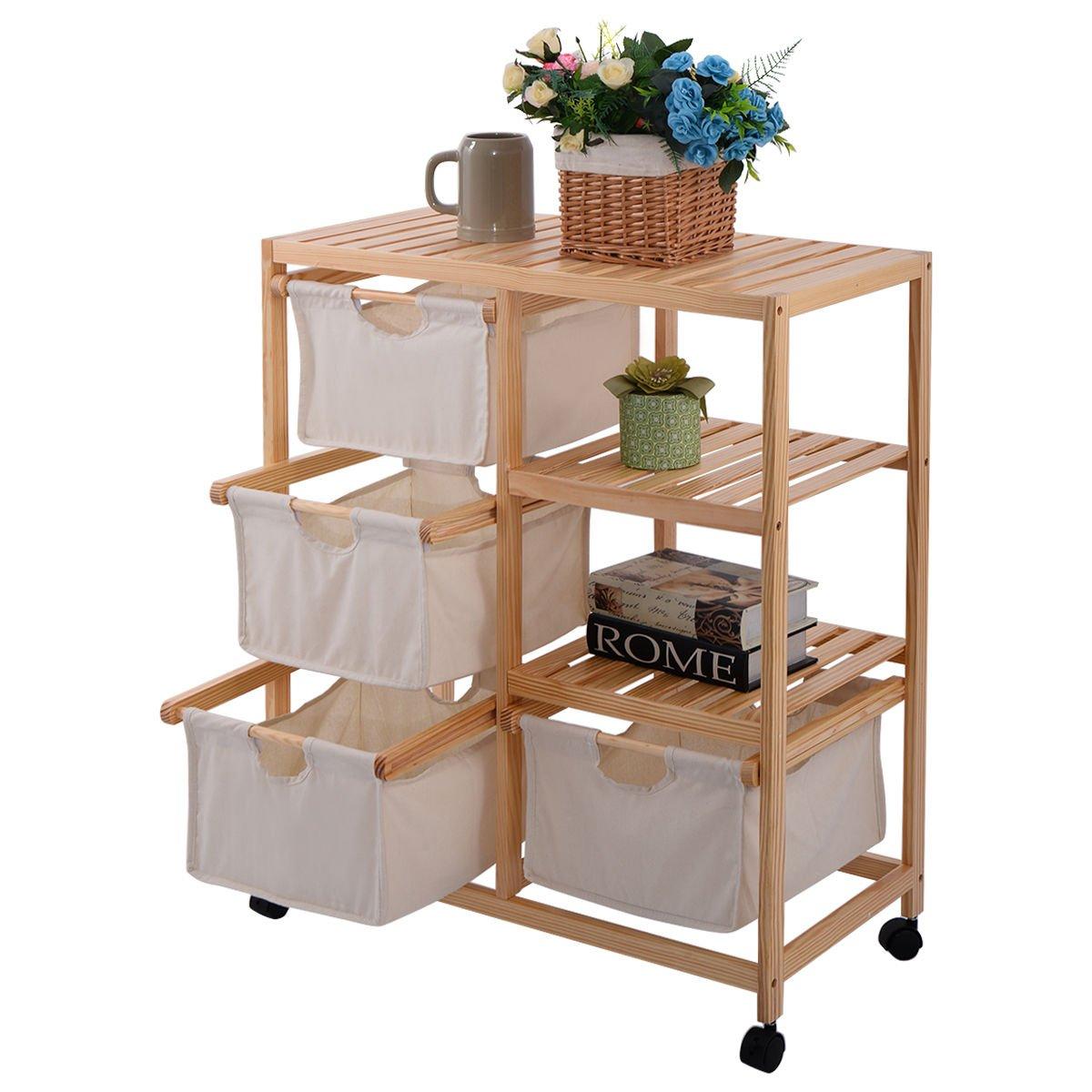 New MTN-G Wood Hamper 2 Section Storage Shelf Unit W/4 Fabric Drawers Home Furniture