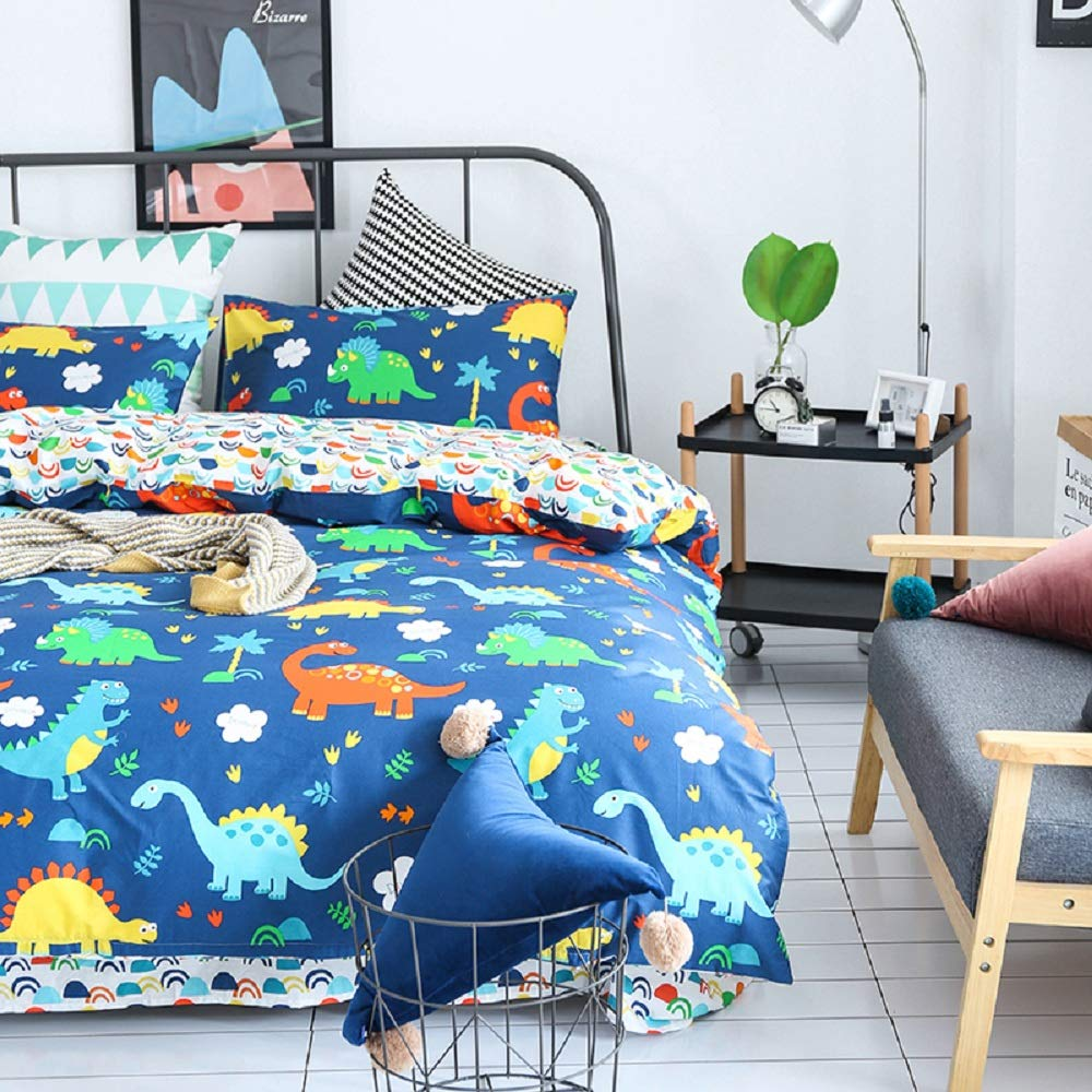 Wellboo Dinosaur Duvet Covers Boys Kids Queen Full Comforter Covers Cartoon Animals Bedding Sets Pure Cotton Tree Navy Blue Duvet Covers Reversible Rainbow Bedding Sets Soft Health 2 Pillowcases