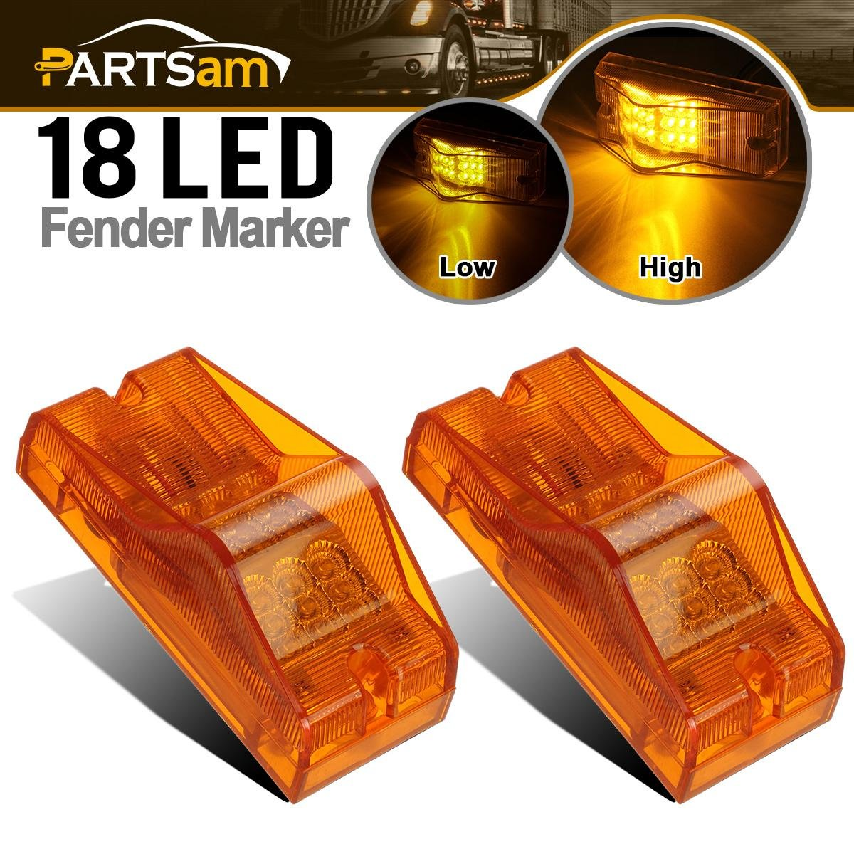 Partsam 2x Amber 18LED Turn Clearance w Reflector Side Turn Marker Light For Freightliner Cab