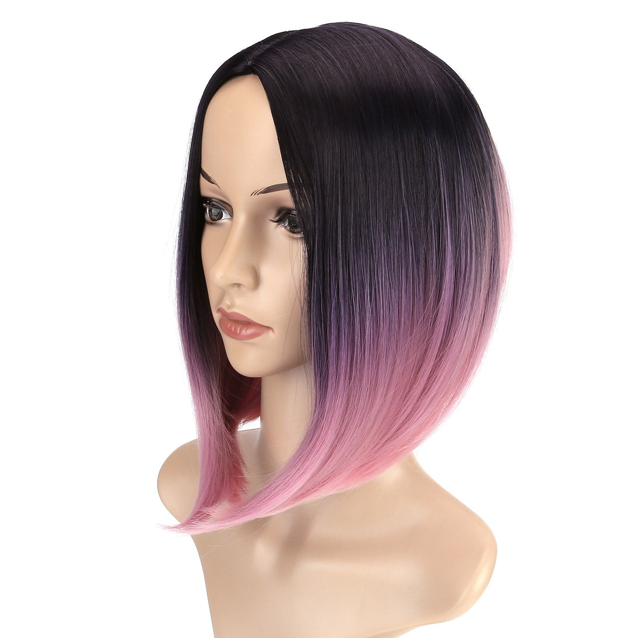 CCbeauty Ombre Bob Wig Straight With Middle Part Short Fashion Wig Cosplay Pink Ombre Wig Full Head Synthetic Wig for Women 14 Inches by CCbeauty (Image #2)