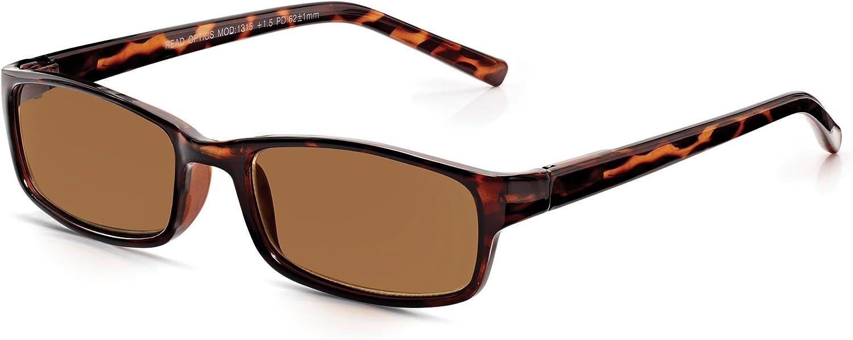 Read Optics Gafas de Sol Graduadas para Lectura +2.00 Hombre/Mujer - Marrones Tortoise de Policarbonato - Lentes Tintadas Rayguard™ 100% Protección UV-400 y Antireflejos - hasta +3.5 Dioptrías