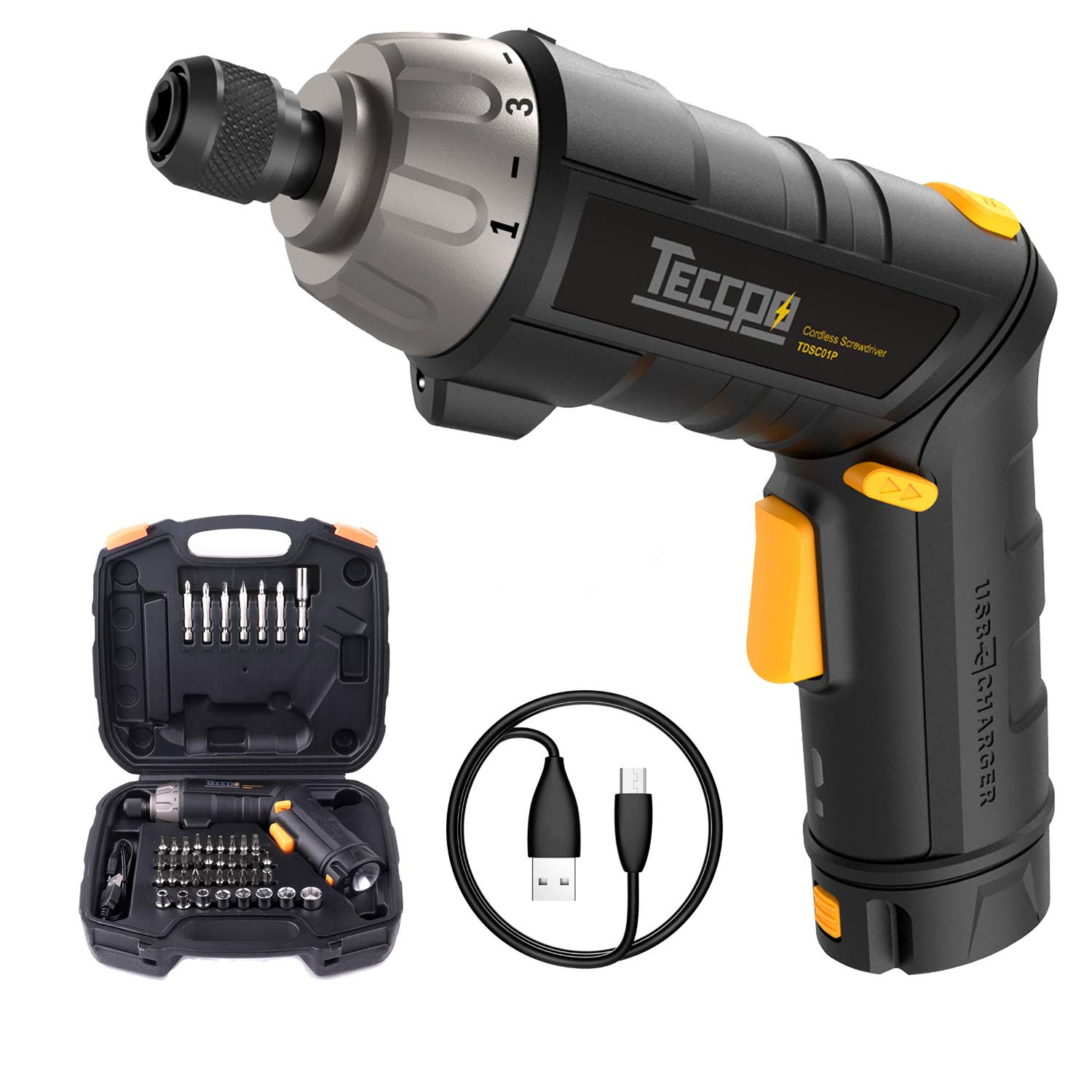 Electric Screwdriver Rechargeable, 4V Max 2.0Ah Li-ion, Torque 6Nm, 9+1 Torque Gears, 45 Pcs sets/bits, Adjustable 2 Position Handle with LED Torch, Cordless Screwdriver USB Charging. TECCPO-TDSC01P