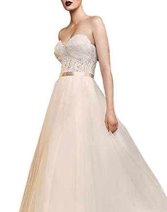 Amazon.com: Wanhua Women\'s Vintage Strapless Low Back Tulle Wedding ...