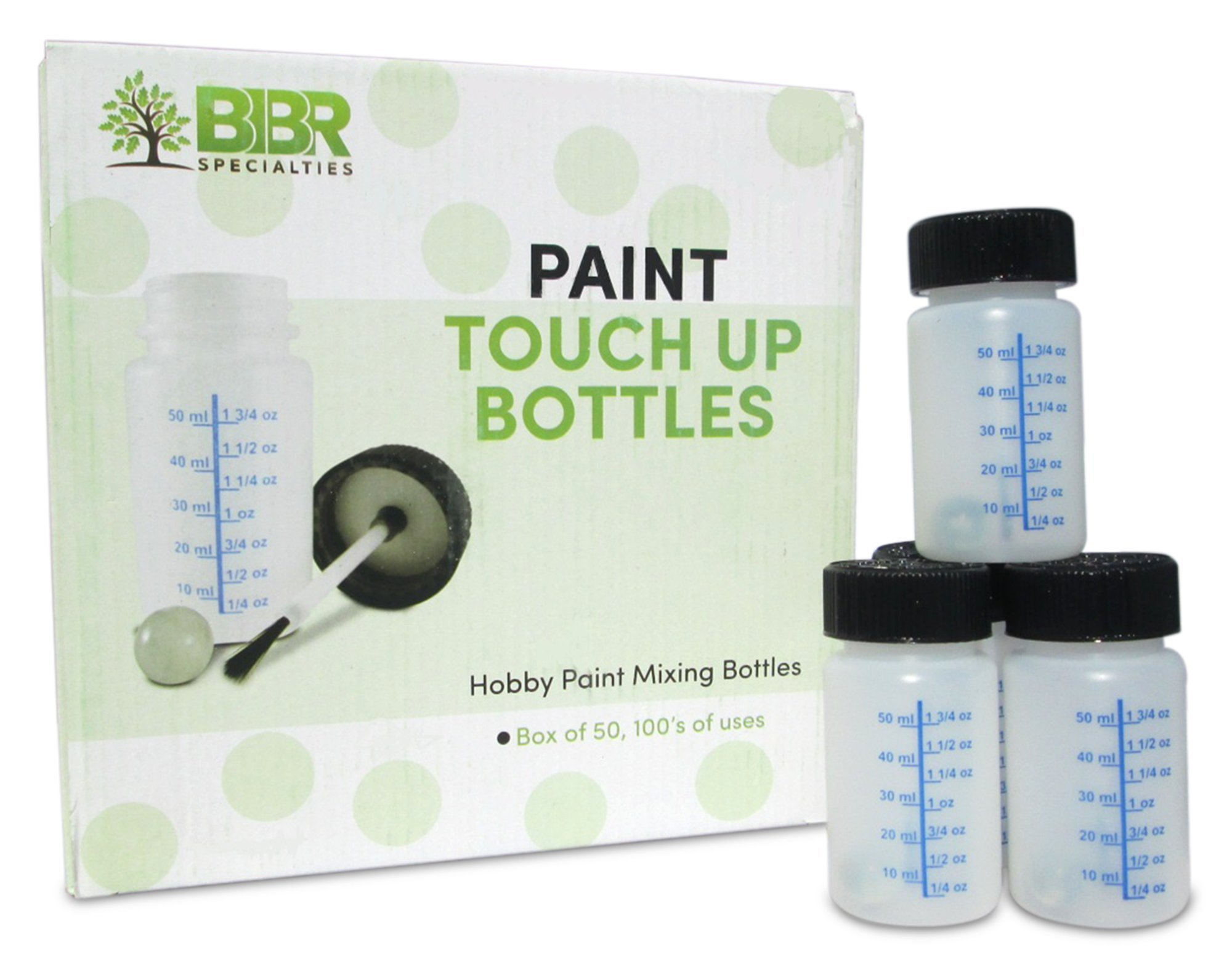 BIBR Specialties Paint Touch Up Bottles With Brush And Mixing Ball - Box Of 50-2 oz/60 ml Capacity - Ideal For Car, Automotive, Model and Hobby Painting - Solvent And Break Resistant HDPE Plastic by BIBR Specialties