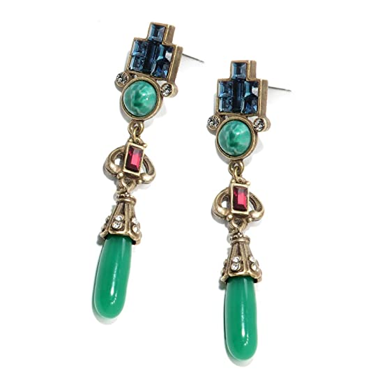 1920s Accessories | Great Gatsby Accessories Guide Vintage Art Deco Drop Earrings $39.00 AT vintagedancer.com