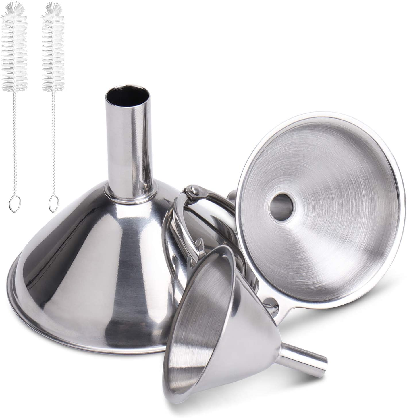 304 Funnels for Kitchen with 2 Cleaning Brushes, PEMOTech 3 Pack Small Stainless Steel Funnel Set Nesting Mini Funnels for Essentail Oil, Spices, Flask, Perfume
