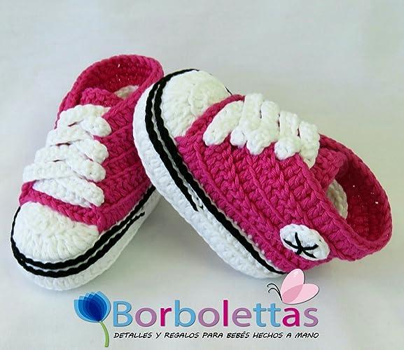 Patucos para Bebé Recién Nacido tipo Converse, 0-3 meses Rosa Fucsia ...