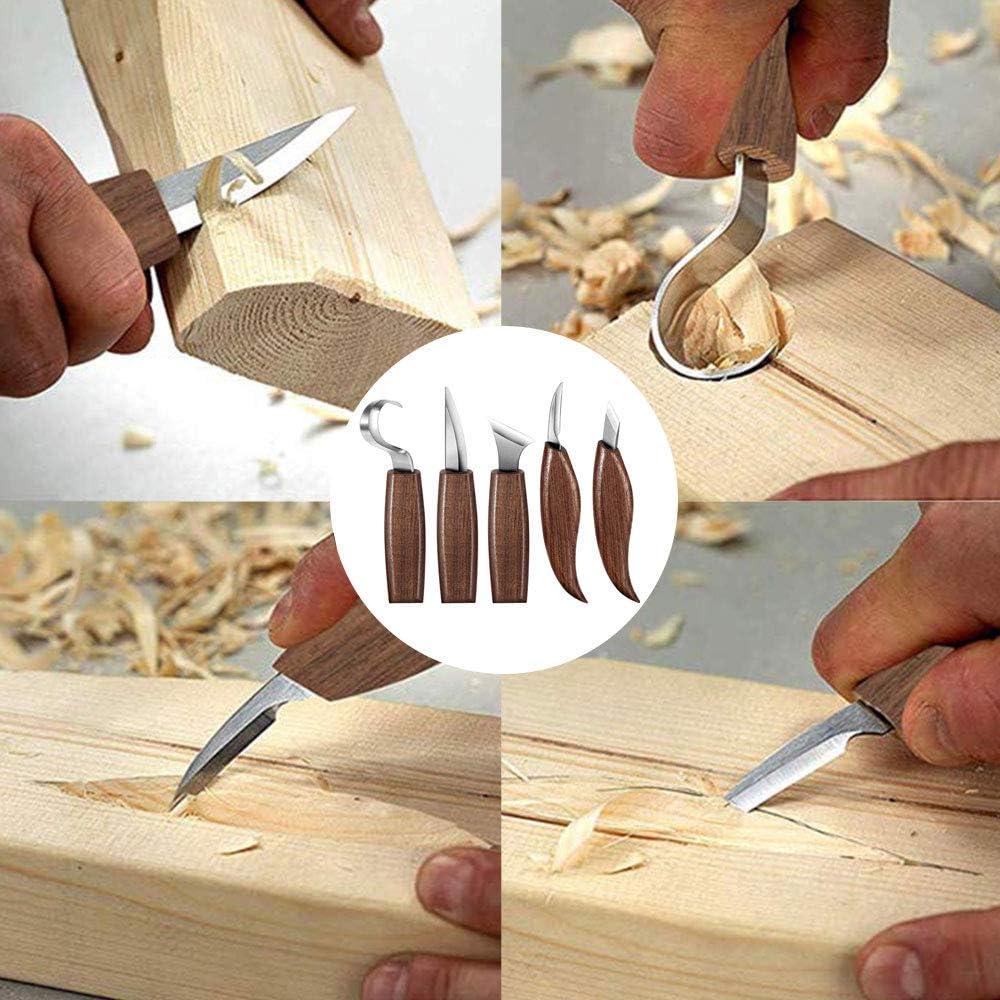 cuchillo de madera Herramienta para tallar madera cuchillo para tallar ganchos cuchillo para tallar taza o trabajos de madera en general cuenco cuchillo para cuchara de cortar cuchillo oblicuo
