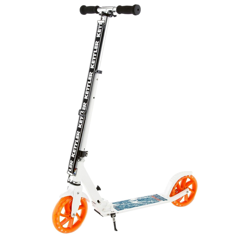 Kettler Scooter Roller Zero 8 Starlet – Kinderscooter mit höhenverstellbarem Lenker – Tretroller mit Bremse und Ständer – stabil & leicht – mit angesagtem Sternenmotiv – Weißszlig;, lila & SchwarzWeiß Blau Orange 8