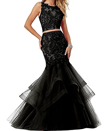 UTAMALL Sleeveless Beaded Lace Embroidered Prom Dresses Long Two Pieces Mermaid Formal Prom Party Ball Gowns