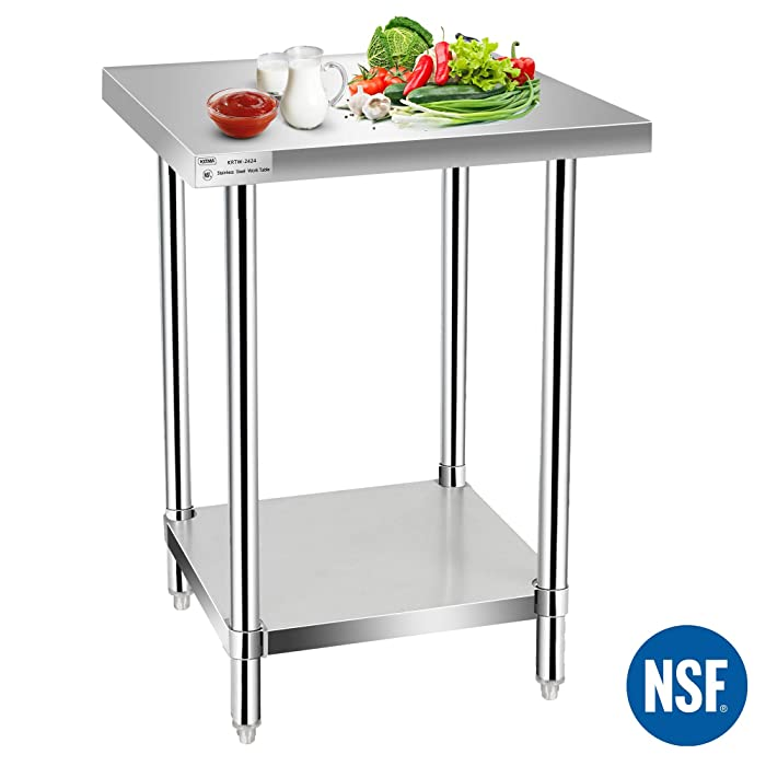 Commercial Kitchen Prep & Work Table, KITMA Stainless Steel Food Prep Table, 24 x 24 Inches,NSF