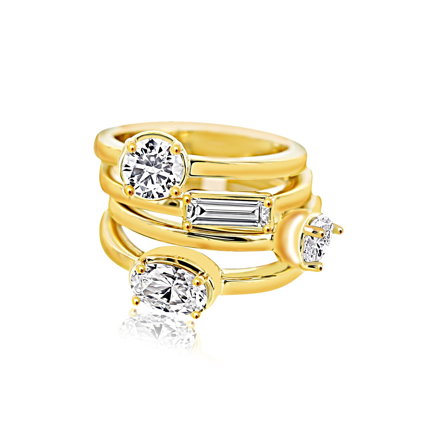 Nicole Miller New York Multi Cut Four Stack Ring Set, Vermeil Plated, Size 8