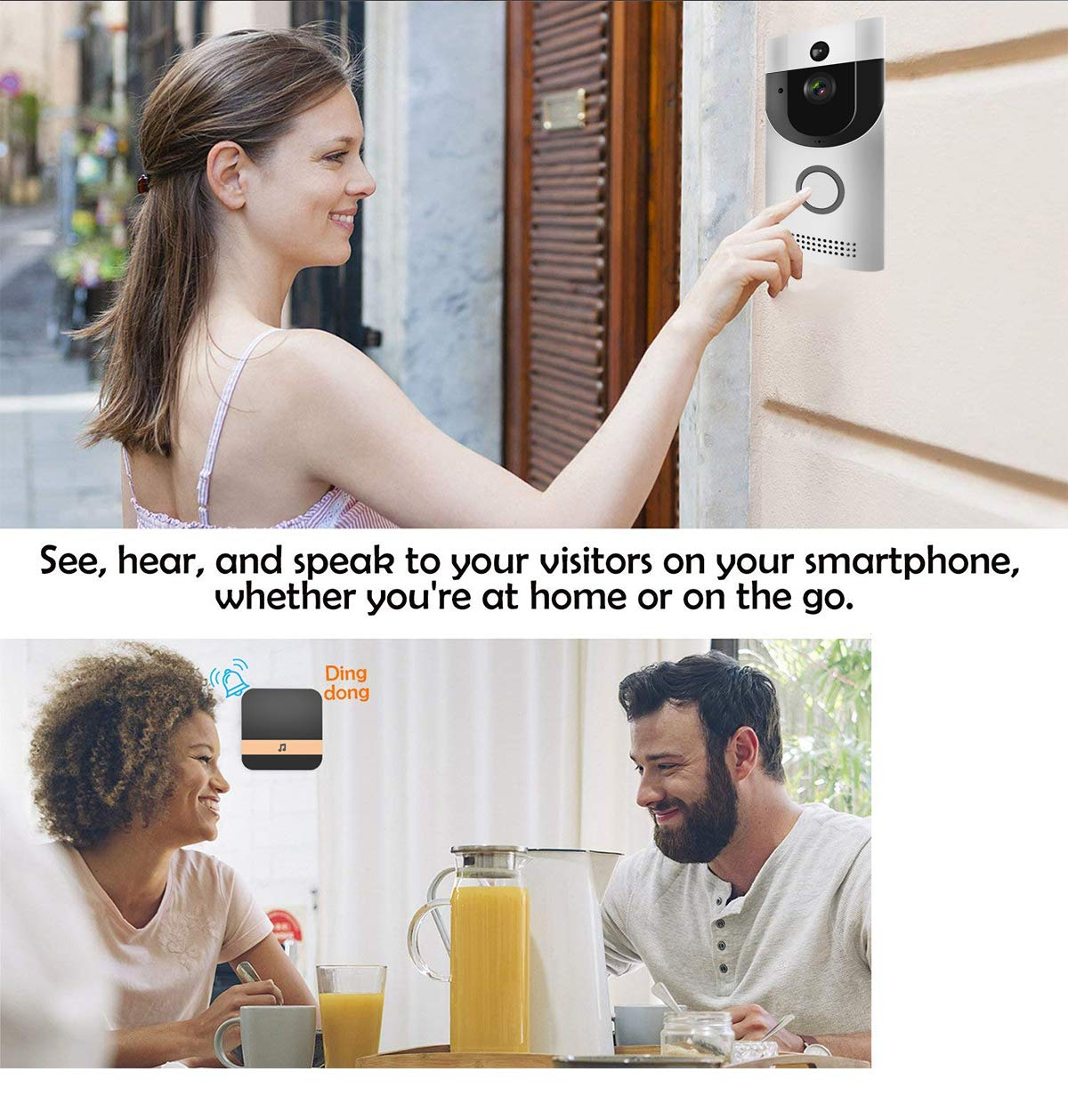 WIFI Video Doorbell, Smart Doorbell HD Security Camera with Chime, Real-Time Two-Way Talk and Video, Night Vision, PIR Motion Detection, ultra-slim design and App Control for IOS and An (Silver) by KLORNO (Image #4)