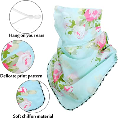 12 Pieces Chiffon Neck Gaiter Colorful Women Face Scarf Ear-Hanging Sunscreen Face Cover Scarf Balaclava Breathable Bandana for Outdoor Sports Favors 4 Pieces in Random Color