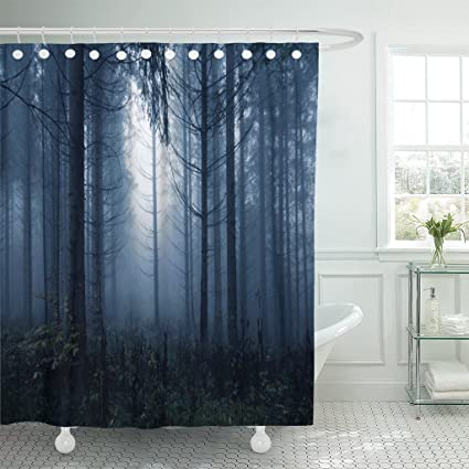 Breezat Shower Curtain Horror Dark Blue Colored Spooky And Misty Conifer Forest Tree Landscape Color Filter