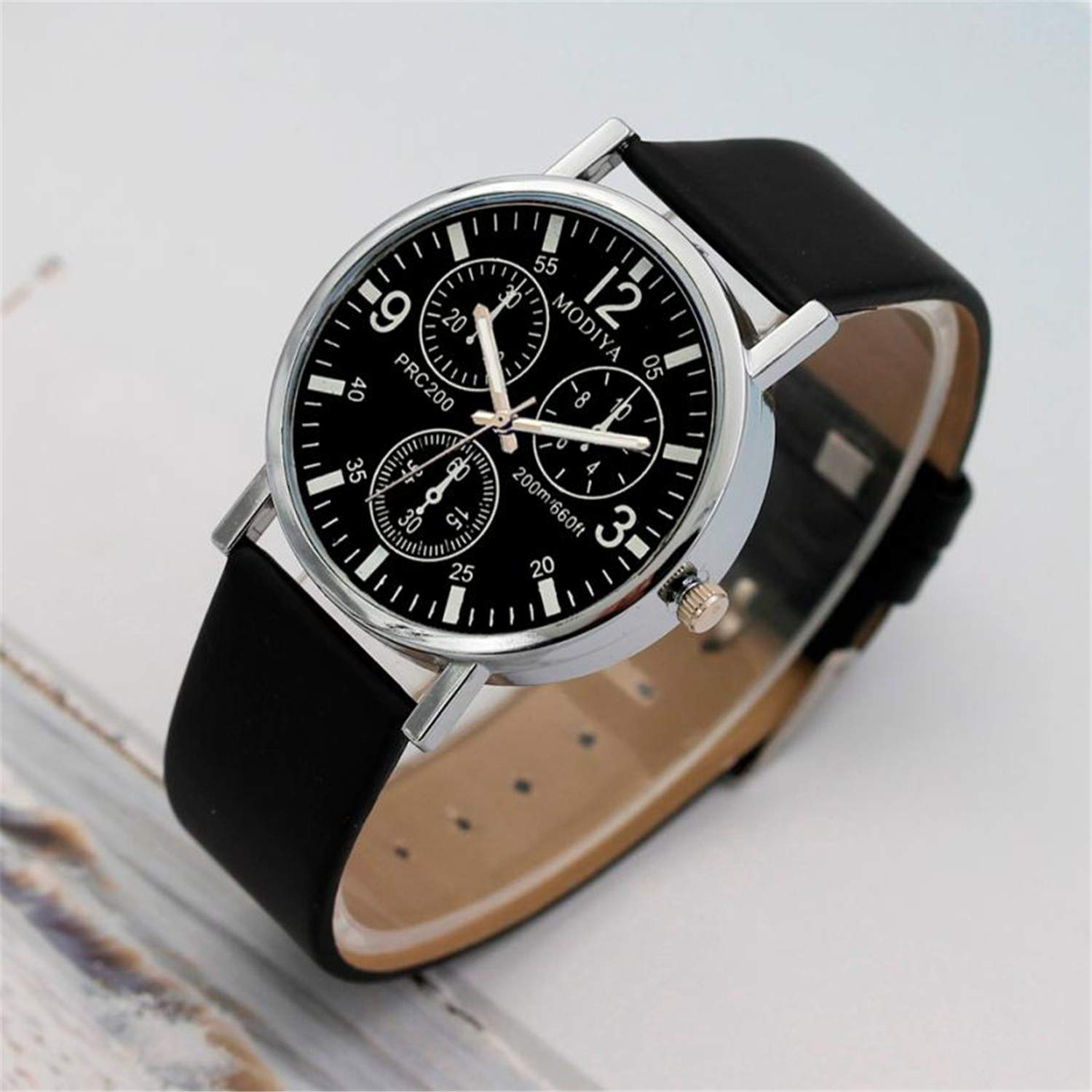 Amazon.com : SUPERON Relojes reloj Hombre Watch Men Luxury Fashion Faux Leather Mens Blue Ray Glass Quartz Analog Sports Watches with Calendar(A, ...