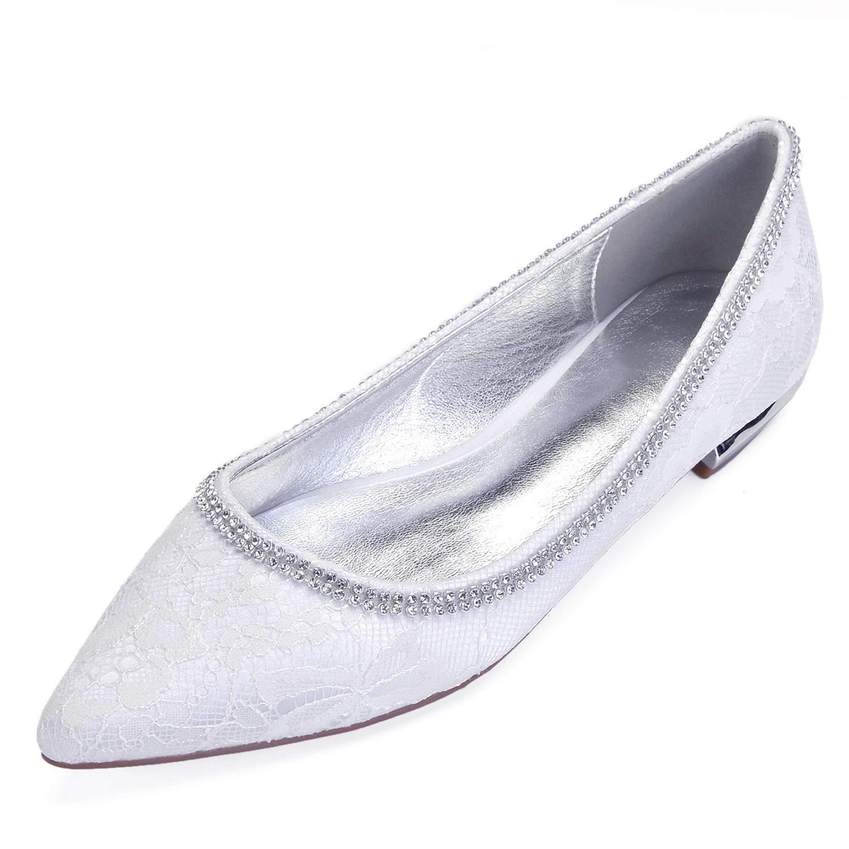 Elobaby Zapatos De Boda De Las Mujeres Tarde De OtoñO Bombas Tacones Bajos En Prom Chunky Punta Cerrada / 1.5cm TalóN 36 EU|White
