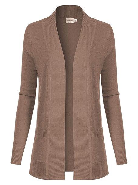9afdd3a2cb00a0 Instar Mode Women s Open Front Long Sleeve Classic Knit Cardigan Camel S