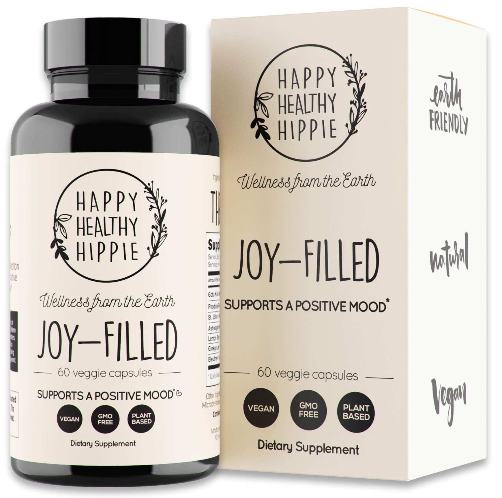 Joy-Filled | 100% Plant-Based Supplement for Anxiety & Depression Relief | Helps Relax The Mind, Boosts Mood, Relieve Stress | Contains 7 Powerful Herbs, Non-GMO, 60 Vegan Capsules by Happy Healthy Hippie