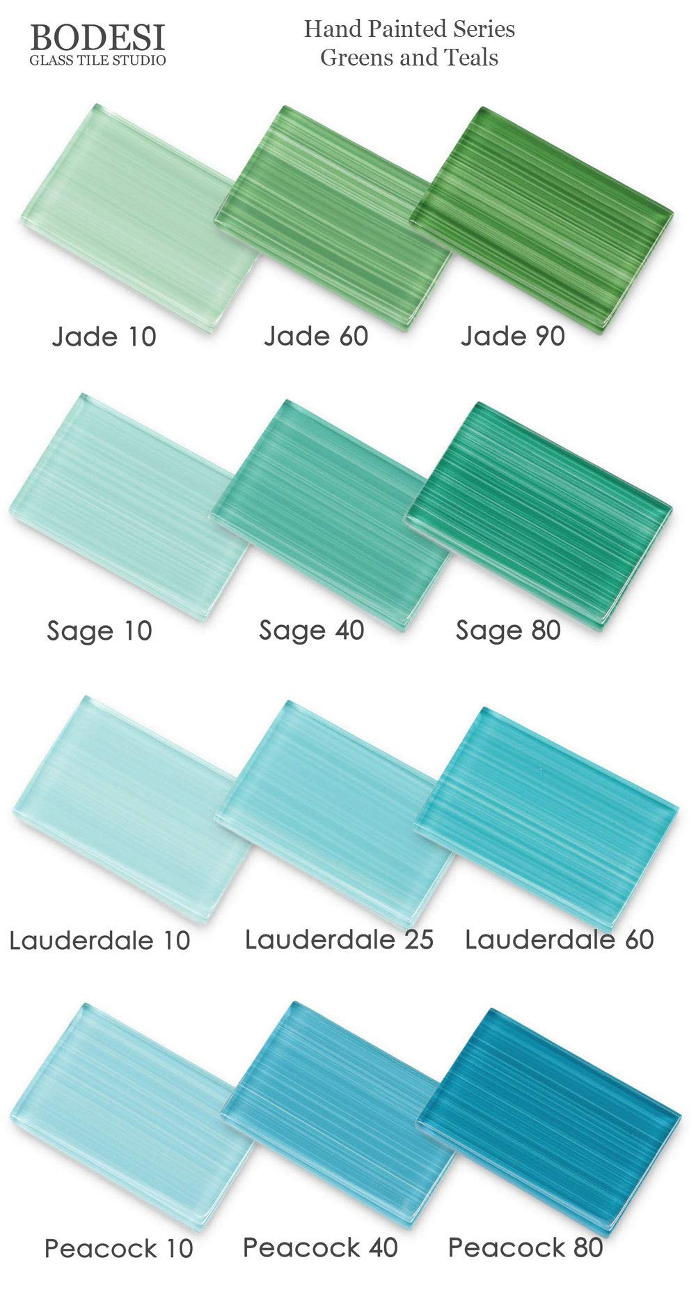 Greens and Teals, Hand Painted Glass for Tile Kitchens and Bathrooms Master Sample Pack by Bodesi - Mosaic and Glass Tile