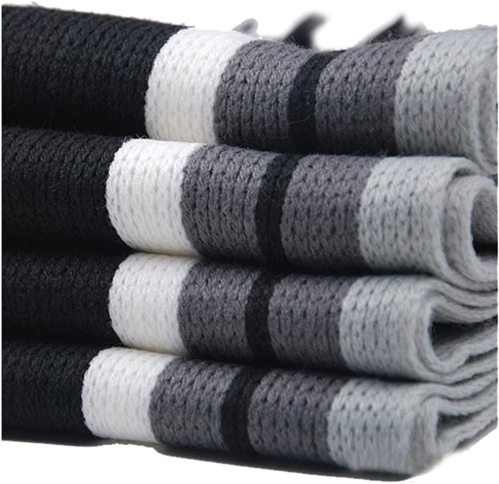 Lubier 1Pcs Mens Scarf Neck Warm Winter Elegant Stripe Long Scarf Gift for Boy Men