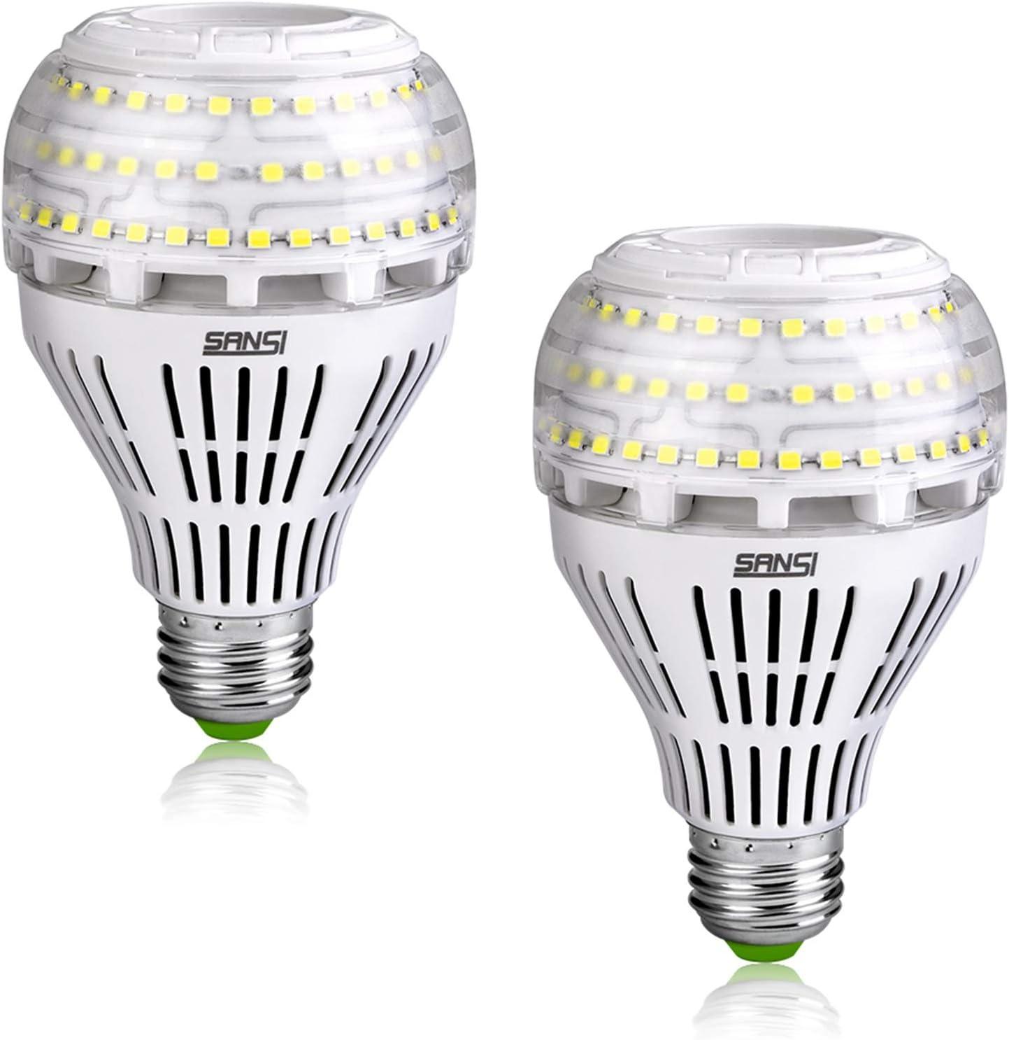 SANSI 27W (equivalente a 250W) Bombillas LED de bajo consumo, Brillantes 4000lm E27 Bombillas LED de tornillo Edison, 5000K Daylight Cool White Light Bombillas, Paquete de 2