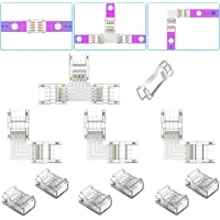 4 Pin LED Strip Light Connector Kit, REDTRON 10mm LED Light Conner Connector, 6x Gapless Connectors, 3x L-vorm…