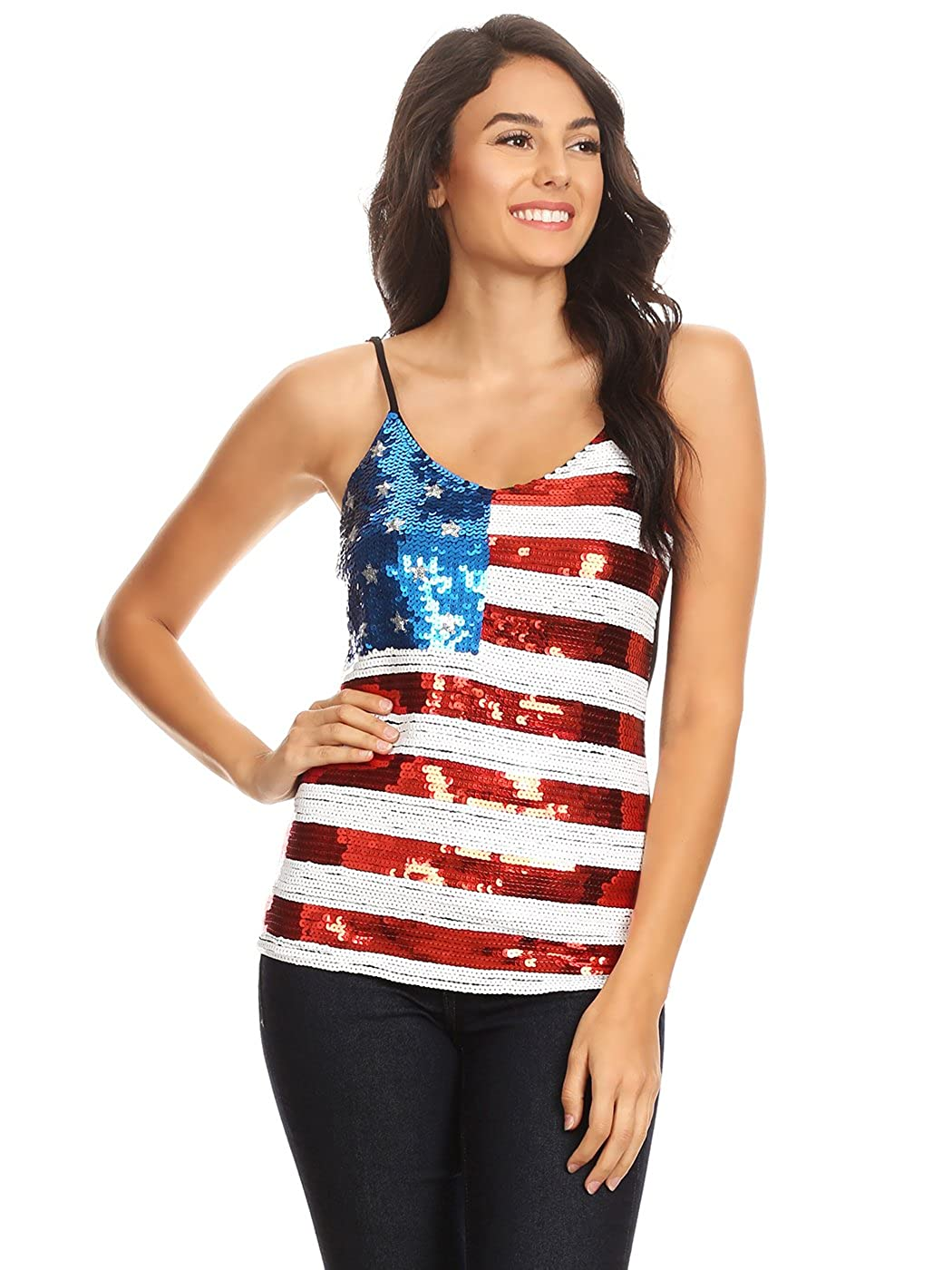 290d866c786d8d Anna-Kaci Womens Patriotic USA Flag American Sequin V Neck Cami Tank Top at  Amazon Women's Clothing store: