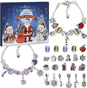 Charm Bracelet Advent Calendar 2020 for Girls, Christmas Countdown Calendar DIY Bracelet Making Kit with 22 Charm Beads, Xmas Gifts for Girls Women Kids, Red Santa Claus