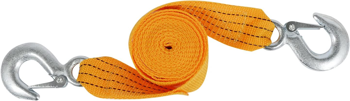 Kinglooyuan LOOYUAN 3 Tons Car Tow Cable Towing Strap Rope with Hooks Emergency Heavy Duty 6 FT